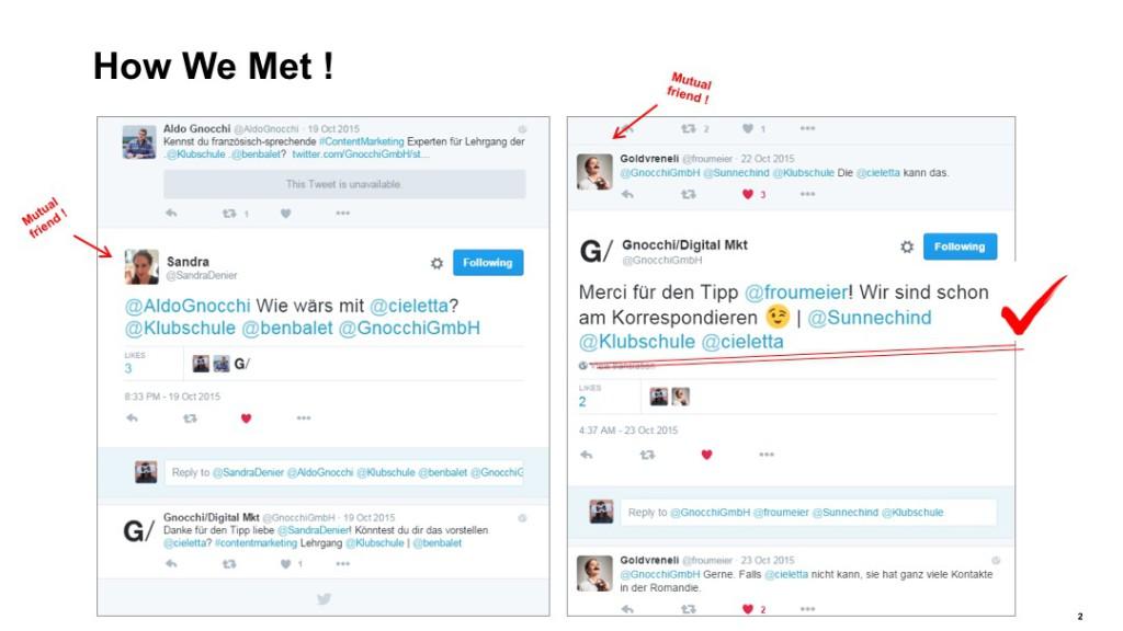 Sarah Stiefel und Aldo Gnocchi traten über Twitter in Verbindung bevor sie am Schweizer Marketingtag gemeinsam auf der Bühne referierten.