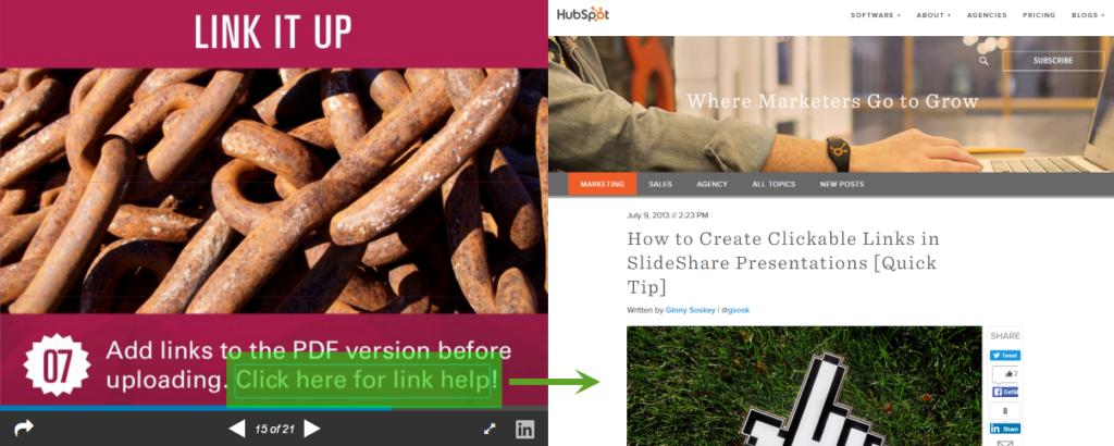 Slideshare CTA Link auf Website