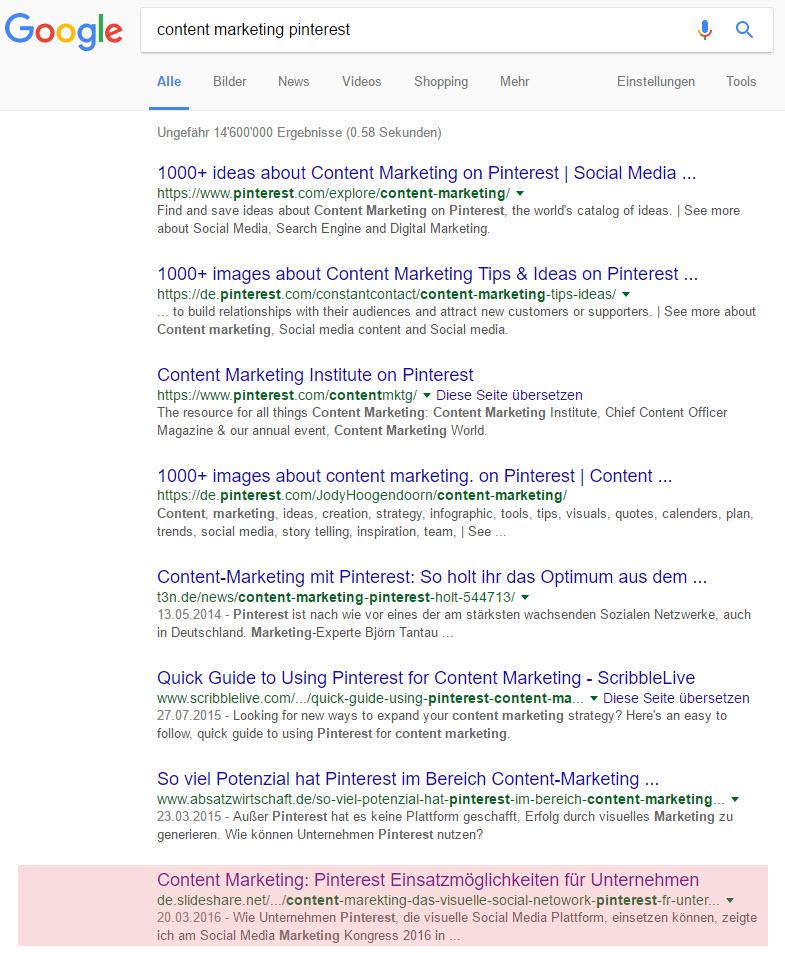 Google Ranking Gnocchi Slideshare Pinterest